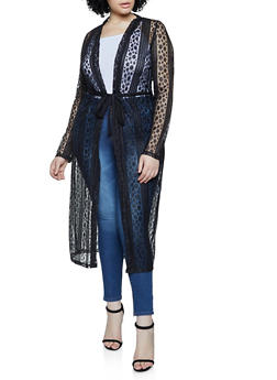 Plus Size Patterned Mesh Duster - 1912062702090