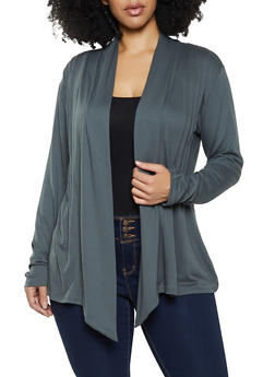 Plus Size Soft Knit Pleated Cardigan - 1912062702125