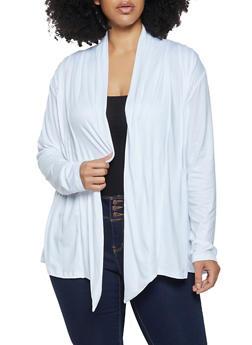 Plus Size Soft Knit Pleated Cardigan - 1912062702125