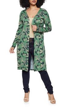 Plus Size Soft Knit Camo Duster - 1912062702145