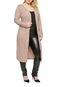 Plus Size Rib Knit Duster Cardigan - 1912062702245