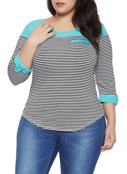 Plus Size Zip Detail Striped Color Block Top - 1912062702294