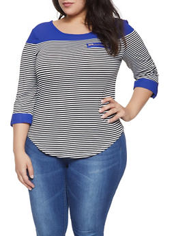 Plus Size Striped Color Block Top - 1912062702294