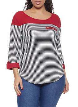 824fe44e568163 Plus Size Zip Detail Striped Color Block Top - 1912062702294