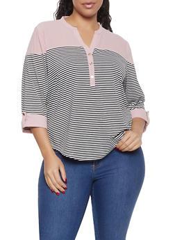 Plus Size Striped Color Block Top - 1912062702295