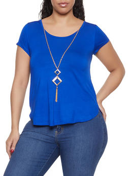Plus Size Caged Back Top with Necklace - 1912062702318