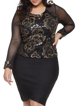 Plus Size Sequined Mesh Top - 1912062702367