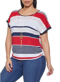 Plus Size Striped Top with Necklace - 1912062702550