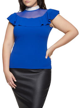 Plus Size Rhinestone Trim Mock Neck Top - 1912062702580
