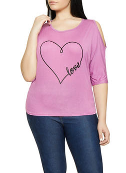Plus Size Love Graphic Cold Shoulder Tee - 1912062702583
