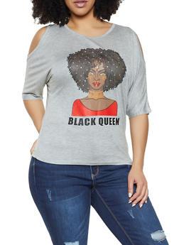 Plus Size Black Queen Cold Shoulder Top - 1912062702584