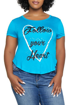 Plus Size Follow Your Heart Rhinestone Studded Tee - 1912062702621