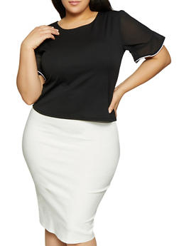 Plus Size Contrast Trim Split Sleeve Top - BLACK - 1912062702628