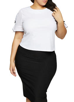 Plus Size Contrast Trim Split Sleeve Top - WHITE - 1912062702628