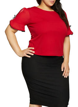 Plus Size Contrast Trim Split Sleeve Top - RED - 1912062702628