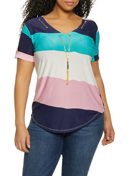 Plus Size Striped Chain Threaded Top - 1912062702659