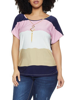 Plus Size Color Block Top with Necklace - 1912062702660