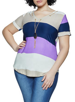 Plus Size Color Block Threaded V Neck Top - 1912062702661
