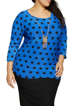 Plus Size Polka Dot Top with Necklace - 1912062702662