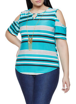 Plus Size Striped Cold Shoulder Top with Necklace - 1912062702667