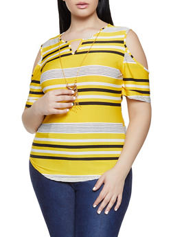 f339dbc5a25ec Plus Size Striped Cold Shoulder Top with Necklace - 1912062702667