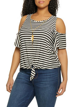 Plus Size Striped Tie Front Cold Shoulder Top with Necklace - 1912062702670