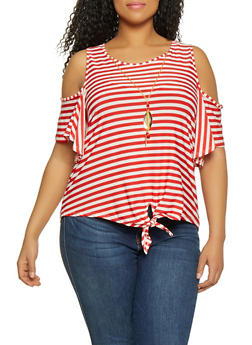 d5d6737acbb85 Plus Size Striped Tie Front Cold Shoulder Top with Necklace - 1912062702670