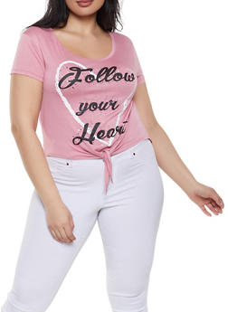 Plus Size Follow Your Heart Tie Front Tee - 1912062702686