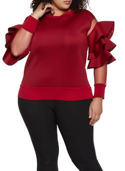 Plus Size Scuba Knit Ruffled Mesh Sleeve Top - 1912062702853