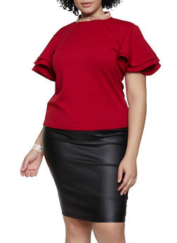 Plus Size Rhinestone Collar Top - 1912062702982