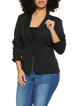 Plus Size Ruched Sleeve Textured Knit Blazer - 1912062703024