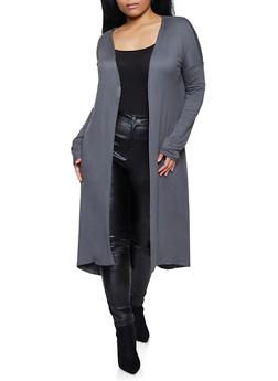 Plus Size Soft Knit Duster - 1912062703028