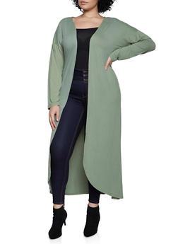 Plus Size Soft Knit Duster - 1912062703028