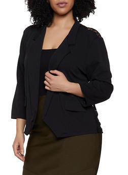 Plus Size Lace Back Blazer - 1912062703033
