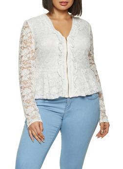Plus Size Zip Front Lace Peplum Top - 1912062703067