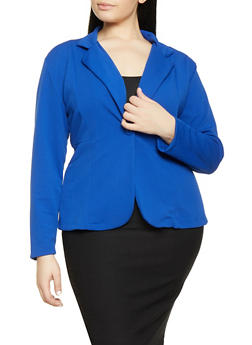 Plus Size Textured Knit Blazer - 1912062703084