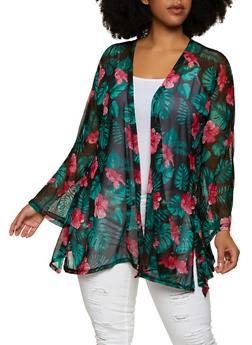 Plus Size Mesh Floral Kimono - 1912062703091