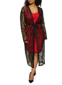 Plus Size Polka Dot Embroidered Mesh Duster - 1912062703139
