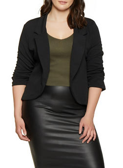 Plus Size Ruched Sleeve Blazer - 1912062703155