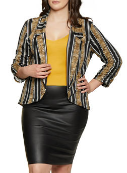 Plus Size Striped Leopard Print Blazer - 1912062703156