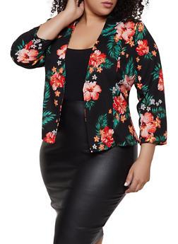 Plus Size Floral Open Front Blazer | 1912062703157 - 1912062703157