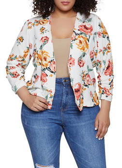 Plus Size Floral Ruched Textured Knit Blazer - 1912062703158