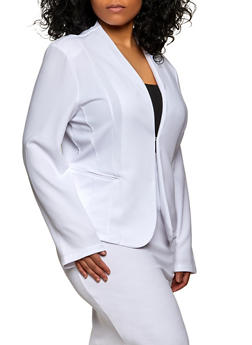 Plus Size Textured Knit Long Sleeve Blazer - 1912062703213