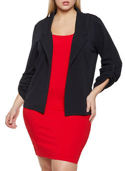 Plus Size Snap Tab Sleeve Blazer - 1912062703214
