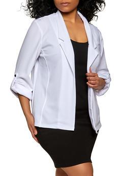 Plus Size Snap Tab Sleeve Blazer - 1912062703214