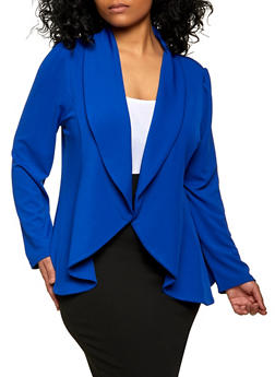 Plus Size Textured Knit Open Front Blazer - 1912062703215