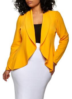 Plus Size Textured Knit Open Front Blazer - 1912062703215