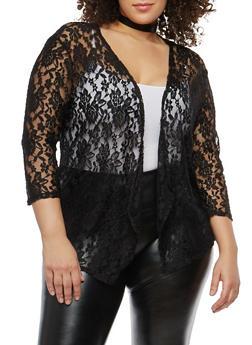 Plus Size Open Front Lace Cardigan - 1912062705115