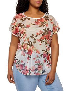 Plus Size Floral Mesh High Low Tee - 1912062705269