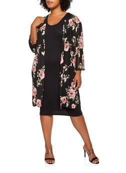 Plus Size Mesh Floral Duster - 1912062705300